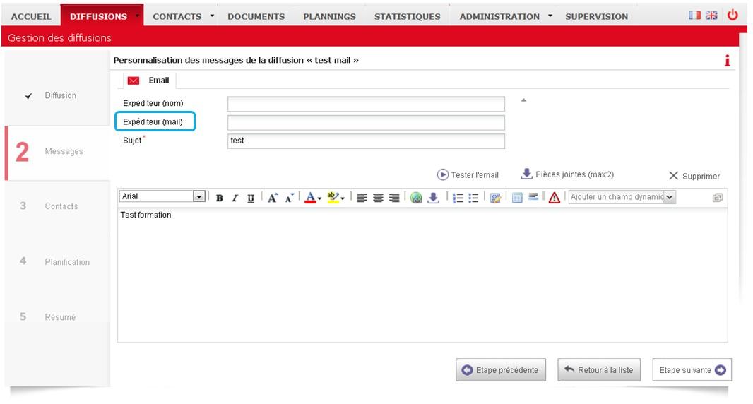 DMC - Personnalisation email - expéditeur par défaut