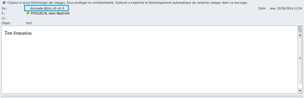 DMC - mail avec expéditeur par défaut